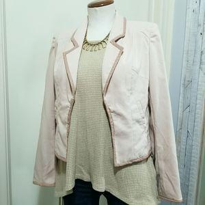 Ark & Co Blush Pink Open Blazer Perf Leather Trim